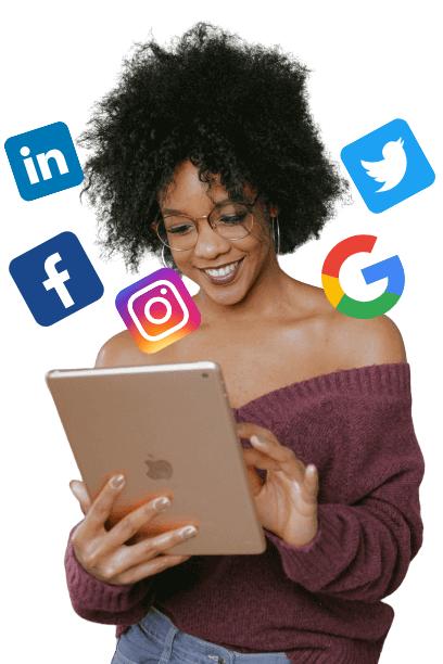 black-lady-checking-digital-marketing-handles-